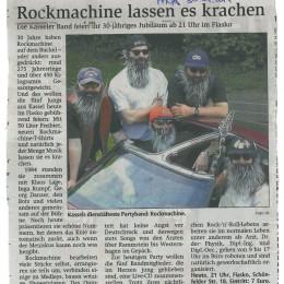 """1984 – """"ROCKMACHINE wird 30"""" – 2014 / HNA 30.04.2014"""